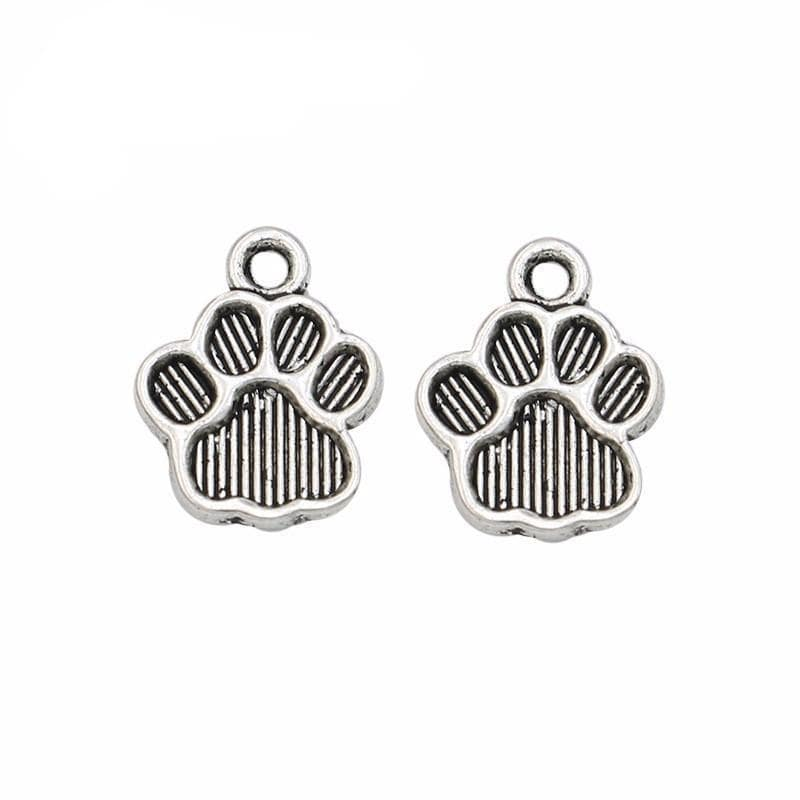 10 pc Paw Print Charms in Antique Silver 10 mm x 12 mm