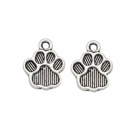 10_pc_Paw_Print_Charms_in_Antique_Silver_10_mm_x_12_mm