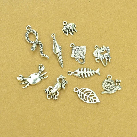 10 pcs Antique silver Charms Mixed Lot