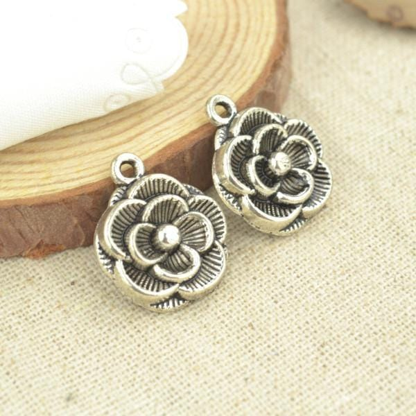 10_Pcs_Antique_Silver_Flower_Charms_21*18_mm
