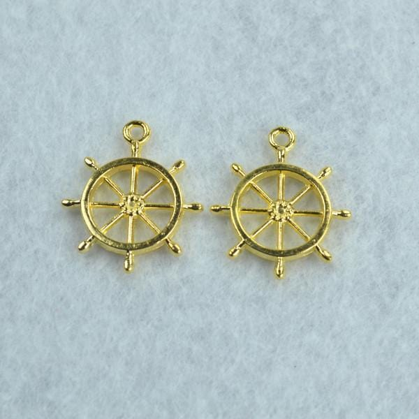 10 pcs Boat Wheel Charms Gold 27*23mm