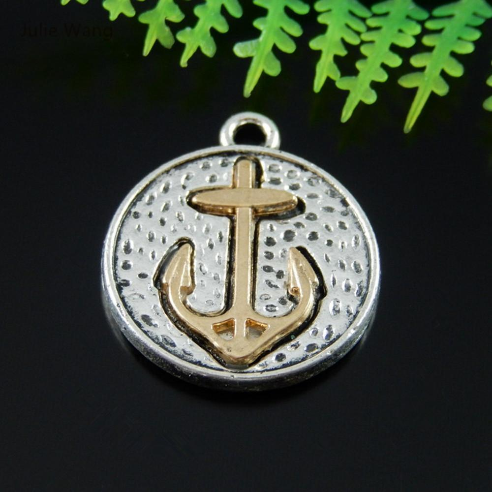 10 pcs Cast in Antique Silver with a Gold Anchor Charms