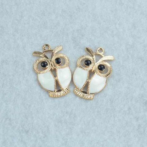 10 pcs Enamel charms Rose gold owl Charms 34*22 mm