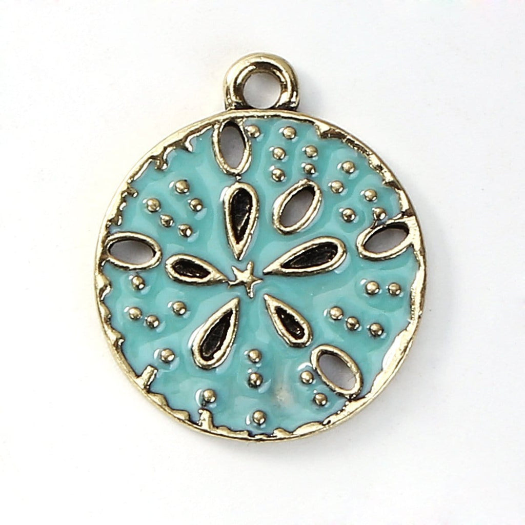10 PCs Enamel Sand Dollar Design Charm 23x20mm