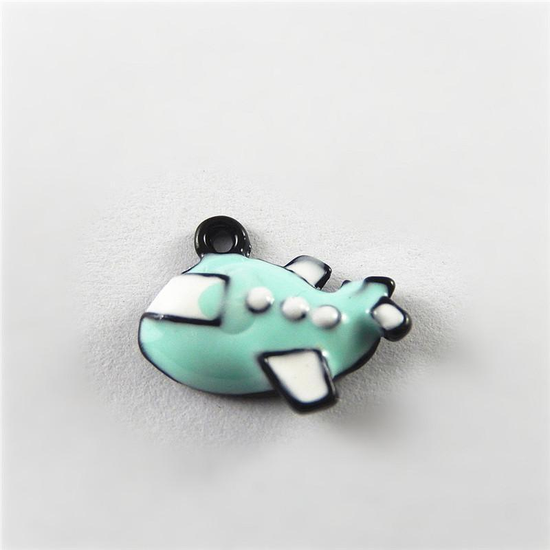 10_PCS_Light_Blue+White_Alloy_Charm_Airline