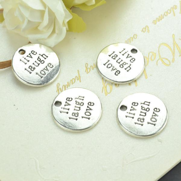 10 pcs Live, Laugh, Love Coin Charm for Beading