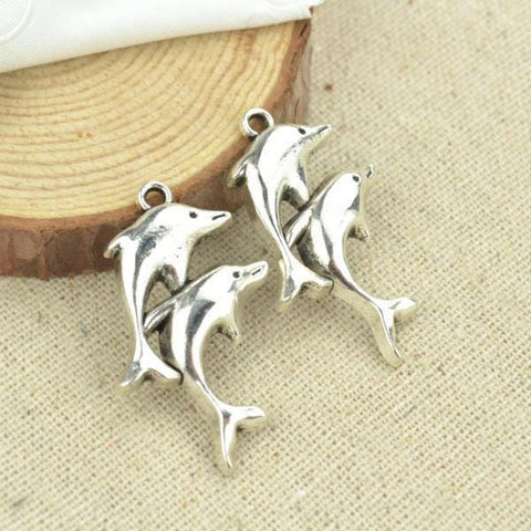 10 pcs metal antique silver Plated dolphin charms  35*21mm