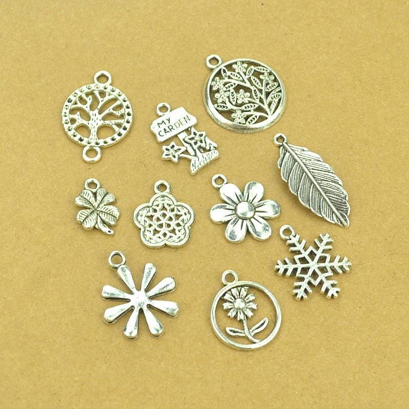 10_pcs_Mixed_Charms_as_Shown_Garden_Designs,_Feather,_Snowflake