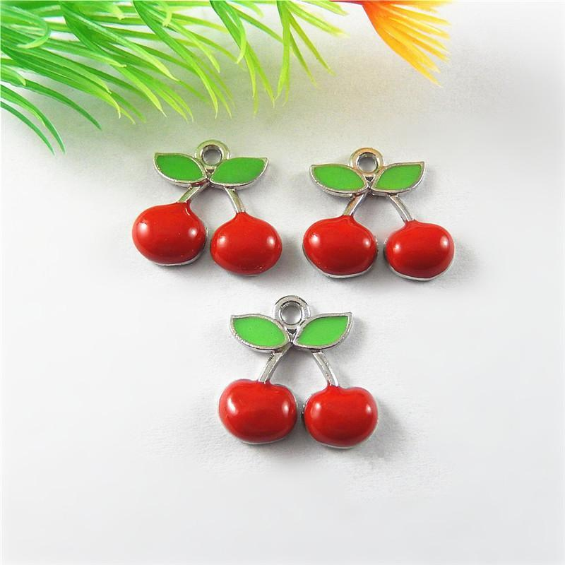 10 PCS Silver Charm Creative Cherry 18*17*4MM