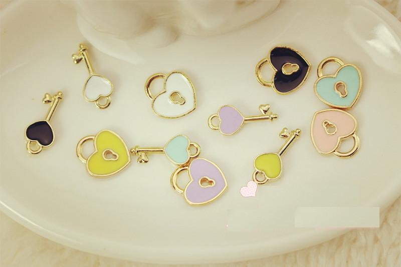 10_pcs/lot_key_AND_lock_Charm_DIY_accessories