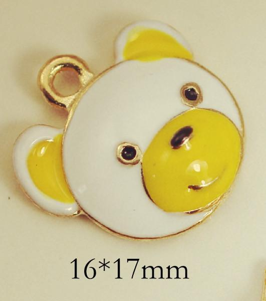 10 pcs/lot Yellow Panda Enamel Charm