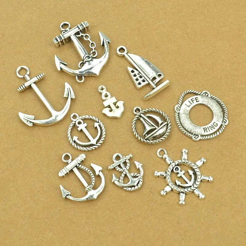 10 pieces of Nautical Deisgns in Anitque silver