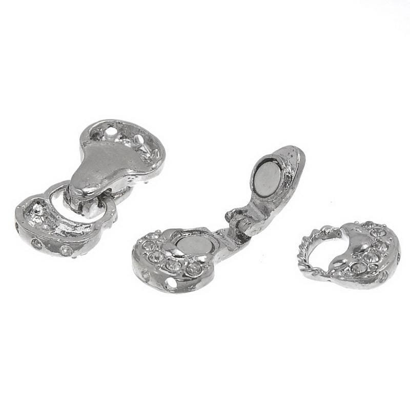 10_Sets_3_holes_Fold_Over_Magnetic_Clasp_Clear_Rhinestone_Magnetic_Clasps_13x26mm