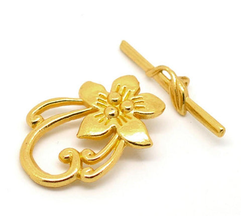 10_Sets_Gold_color_Flower_Toggle_Clasps_20*30mm
