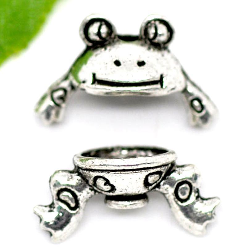 10 Sets of frog End Cap Antique Silver Beads 15x9mm