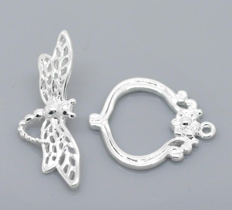 10 Sets Silver Dragonfly Flower Toggle Clasps For 21mmx18mm 28mmx10mm