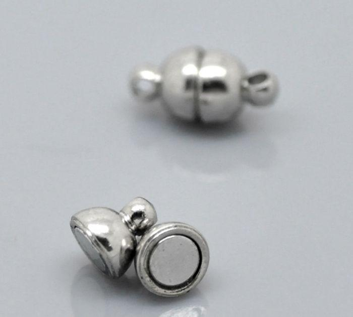 "10_Sets_Silver_Tone_Magnetic_Clasps_12x6mm(4/8""x2/8"")"