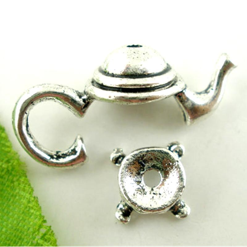 10_Sets_Silver_Tone_Teapot_Beads_Caps_Teapot_21x9mm