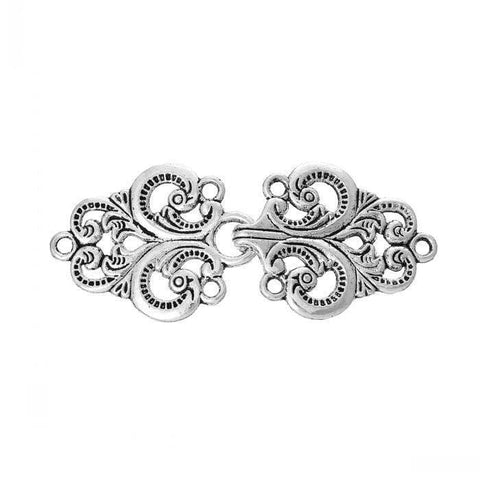 10_Toggle_Clasps_Oval_Branch_Antique_Silver_Hollow_Flower_Pattern_6.7cm_x_2.8cm