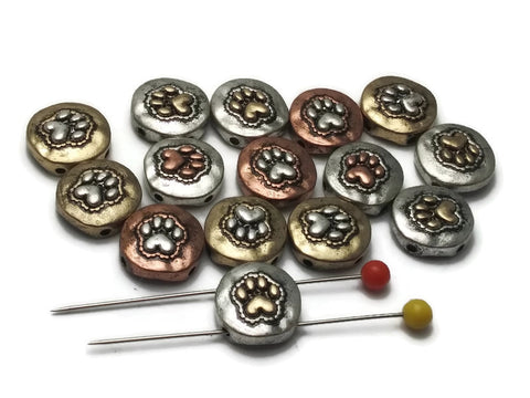 15 Small Paw Print Mixed Metal 2 hole Slider Beads