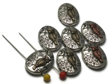 7 Owl Owls Light Pewter Silver 2 hole Slider Beads