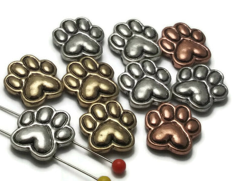 10 Mixed Metal Gold, Silver and Copper Paw Print 2 hole Slider Beads