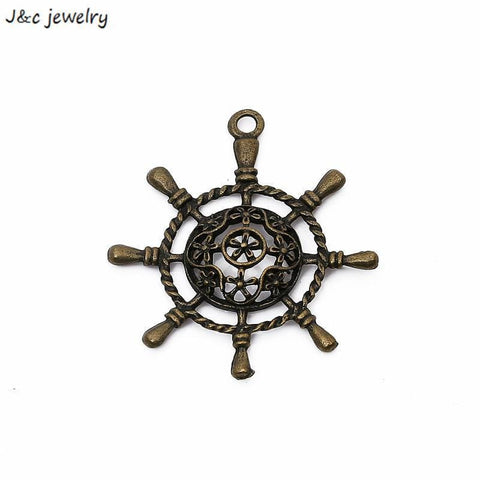 10pcs antique bronze color Ship Wheel Nautical charms diy 38*39mm