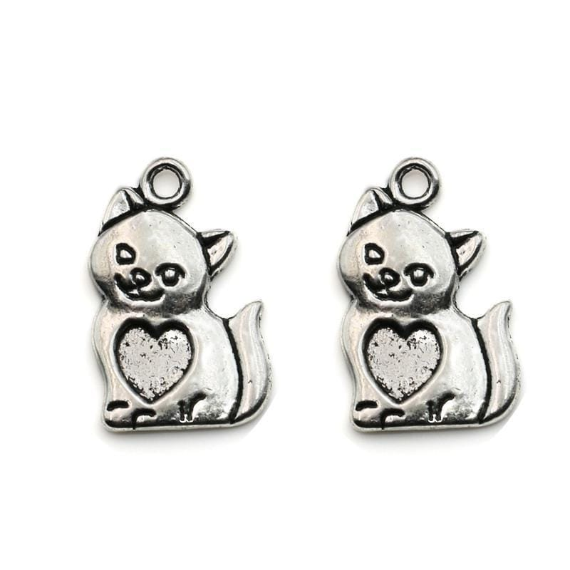10pcs_Antique_Silver_Cat_Charms_with_Heart_Centers_23x14mm