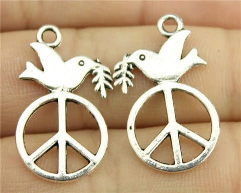 10pcs  Antique Silver Color Peace Dove Charms