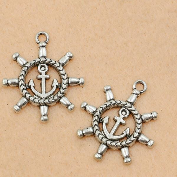 10Pcs Antique Silver Plated Ship Wheels Nautical Charms  27x23mm