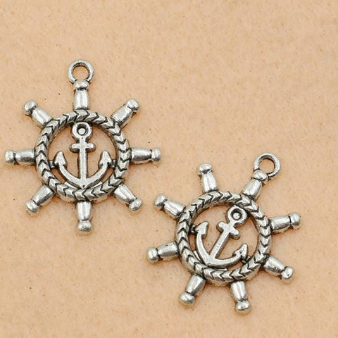 10Pcs_Antique_Silver_Plated_Ship_Wheels_Nautical_Charms__27x23mm
