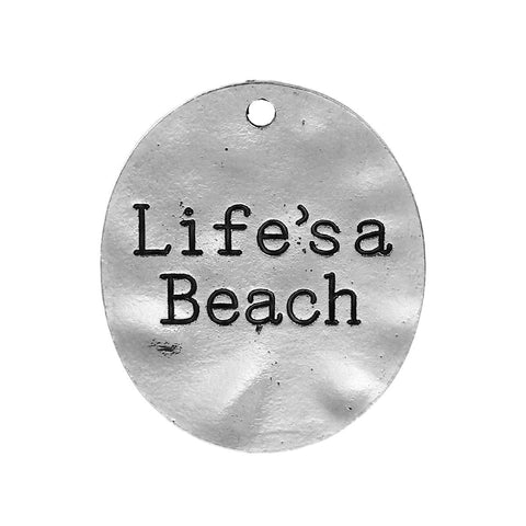 "10PCs ""Life's a Beach"" Silver Charms"