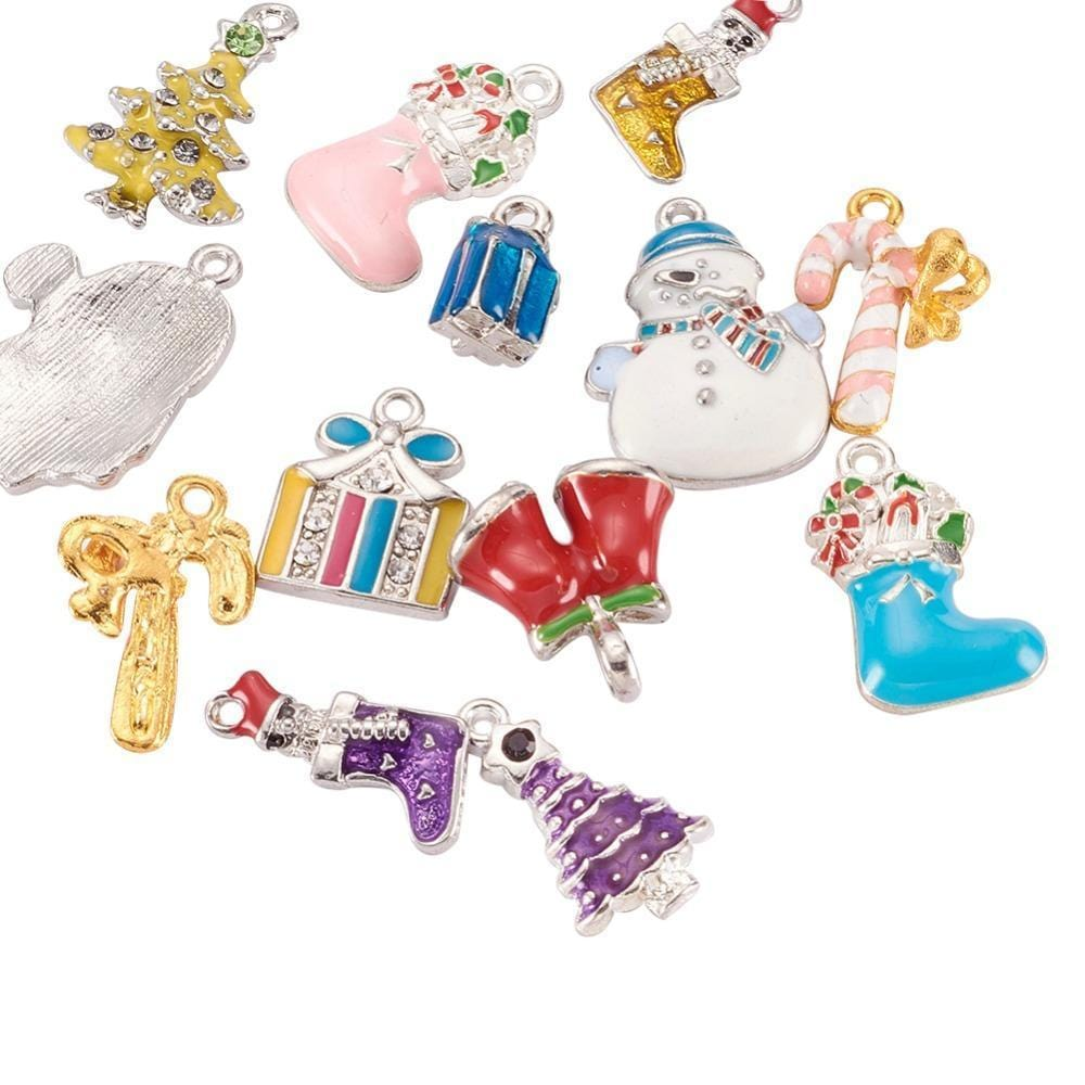 10pcs_Mixed_Christmas_Enamel_Charms_Snowman,_Stockings,_Trees,_Bells_and_More
