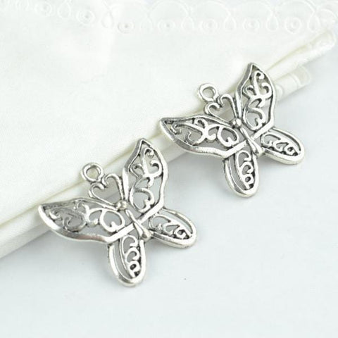 10Pcs Zinc Alloy butterfly Charm Antique Silver Filigree Charms