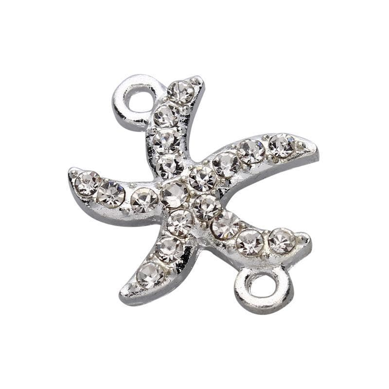10pcs/lot_23*20mm_Starfish_Rhinestone_Crystal_Double_Holes_Connector_beads