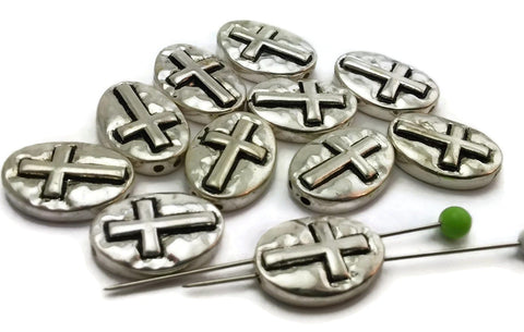 11 Christian Hammered Bright Silver 2 Hole Beads M176-N2
