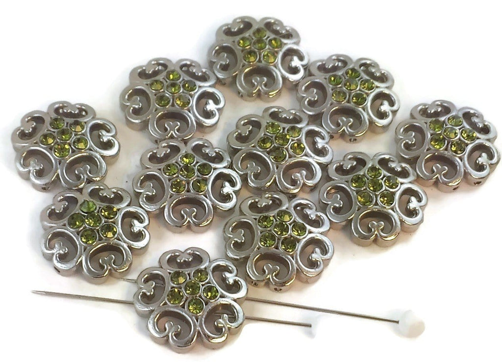 11 platinum olivine 2 hole beads d20-f3
