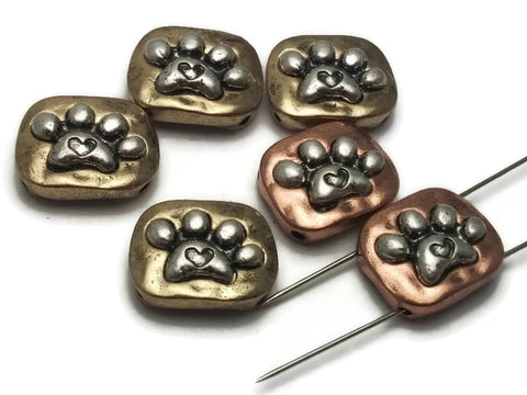 6 Antique gold and copper with Silver Paw Prints 2 hole Slider Beads