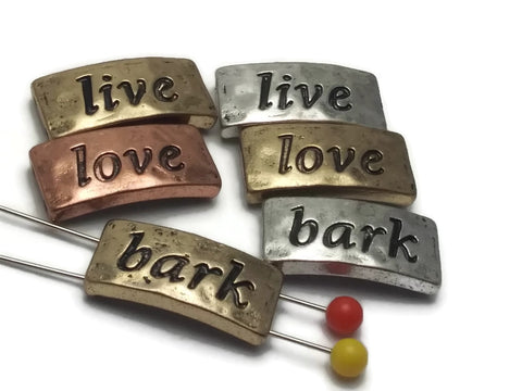 """Live, Love, Bark"" 2 hole Slider Beads"