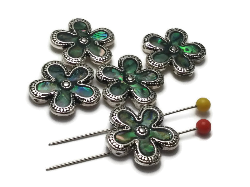 5 Abalone Floral Flower Beads Silver 2 hole Slider Beads