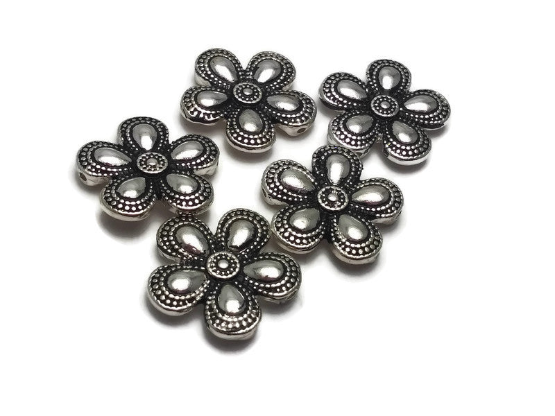 5 Bright Silver Floral Flower Beads Silver 2 hole Slider Beads