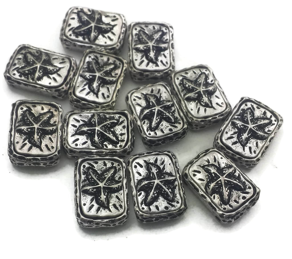 12 antique silver starfish beads ornate beads-11624-N10