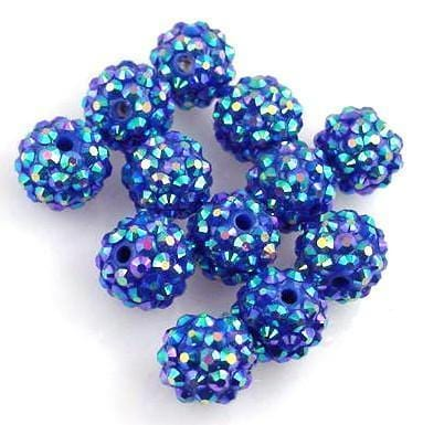 12 resin blue AB shamballa beads 10746-M8