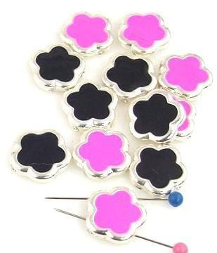 12 silver pink and black flower beads 9643-A1