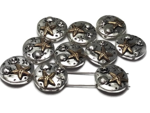 10 Bright Silver Starfish Beads Silver 2 hole Slider Beads