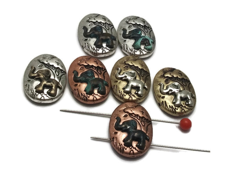 7 Bright Silver, Patina, Antique Gold Elephant Beads Silver 2 hole Slider Beads