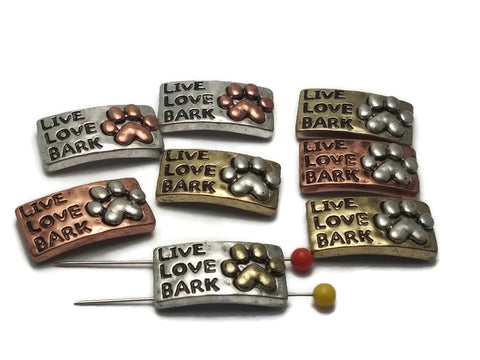 "8 ""Live, Love, Bark""  Beads Silver 2 hole Slider Beads"