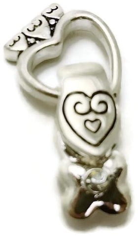 Silver magnetic heart fold over clasp 12401 - mobile-boutique.com
