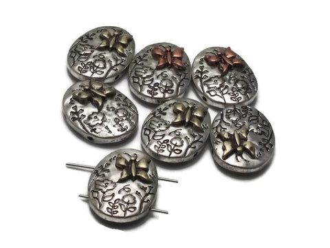 7 Butterfly and Texture Oval Beads 2 hole Slider Beads