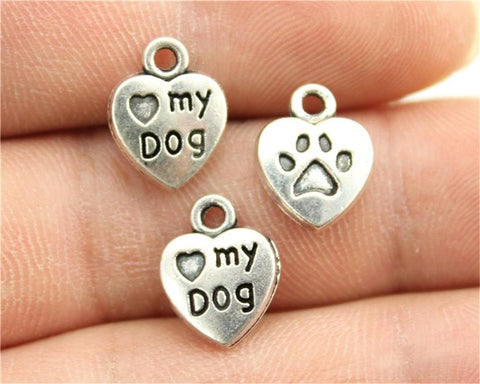 12pcs  Antique Silver Paw And I Heart My Dog Charms - mobile-boutique.com